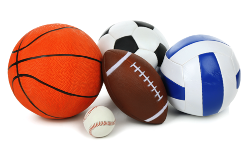 basketball, soccer ball, football, baseball, volleyball